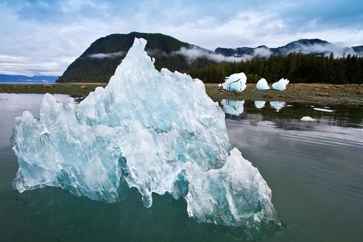 Glacial iceberg detail from ice calved off the LeConte Glacier near Petersberg, Southeast Alaska, USA, Pacific Ocean  MORE INFO LeConte Glacier is the southernmost tidewater glacier in North America  Like most of the 100,000 glaciers in Alaska the LeConte : Stock Photo
