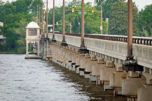 Chester River drawbridge, Chesapeake Bay, Chester, Maryland, United States of America, North America : Stock Photo