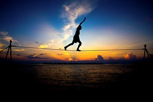 Tightrope walker Key West Mallory Square : Stock Photo