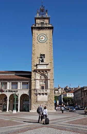italy, Bergamo, Tower, : Stock Photo