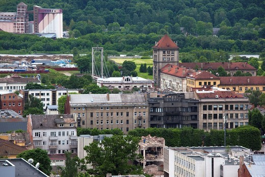 Stock Photo: 1566-597525 Lithuania, Central Lithuania, Kaunas, elevated town view from Christ´s Resurrection Basilica