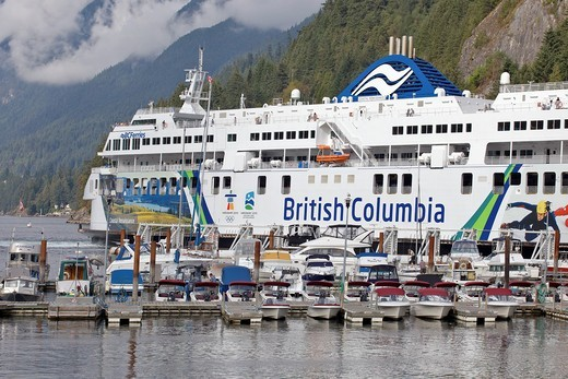 Stock Photo: 1566-598105 BC ferries docking Horseshoe Bay ferry terminal, Northwest Vancouver, British Columbia, Canada