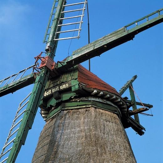 Germany, Eddelak, Dithmarschen, North Sea, Schleswig-Holstein, windmill God with us, cornmill : Stock Photo