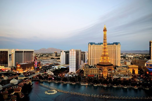 Twilight View of Las Vegas, Nevada Strip : Stock Photo