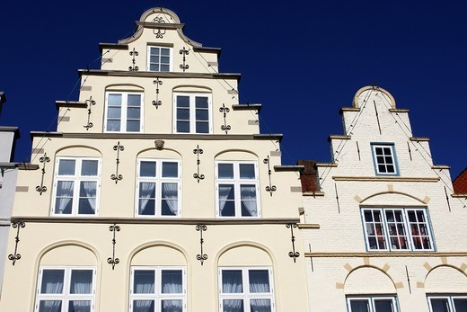 Historical Houses at Market Place / Friedrichstadt / Schleswig-Holstein / Germany : Stock Photo