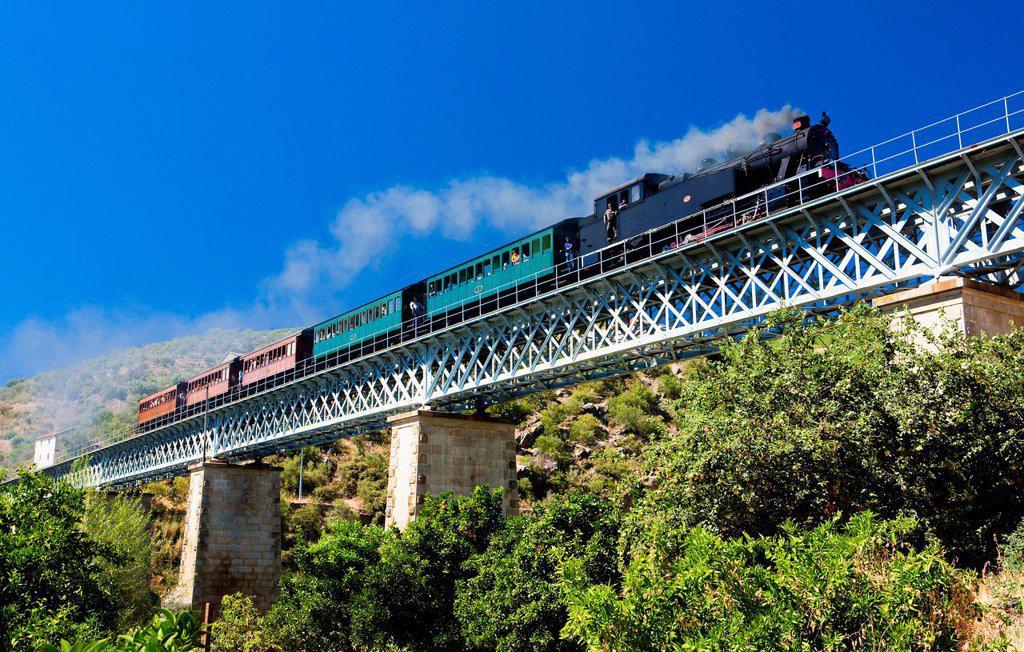 steam train in Douro Valley, Portugal : Stock Photo