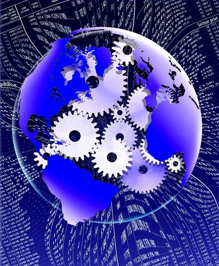 SYMBOLIC IMAGE WITH THE EARTH AND GEARS : Stock Photo