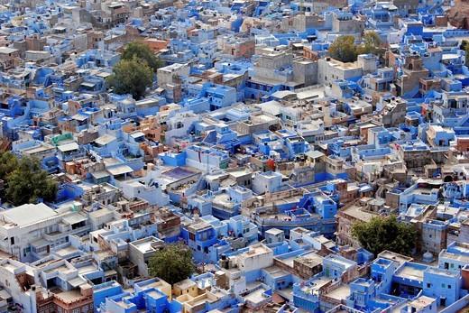 Stock Photo: 1566-600587 India Radjastan Jodhpur Brahman neighborhood view of the blue city dedicated to Brahma from Meharanghar fort
