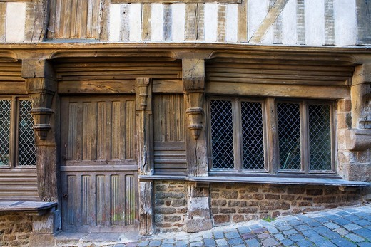 Governor´s house in the old town of Dinan, in Cotes d´Armor department, Brittany  France : Stock Photo