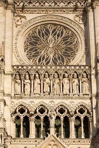 Stock Photo: 1566-602146 Detail of the doorway of the Notre Dame Cathedral, from XIII Century, in Amiens listed as World Heritage by UNESCO  It´s the Highest ghotic cathedral of France