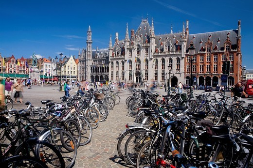 Provincial Government palace in Market Square, listed World Heritage Site by UNESCO  Flanders  Belgium : Stock Photo