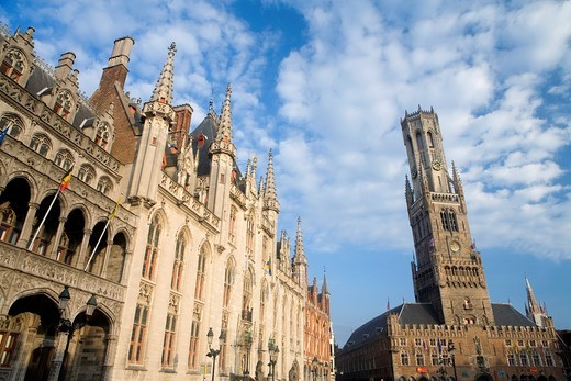 Stock Photo: 1566-602162 Provincial Gobernment Palace on the left, and Belfry Tower in Market Square, in the medieval town of Brugge, listed World Heritage Site by UNESCO  Flanders  Belgium