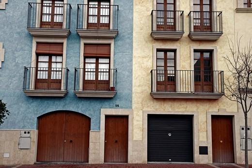 facades of houses, Altafulla, Tarragona, Catalonia, Spain : Stock Photo