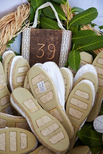 Rope-soled sandals for sale, Villaverde de Pontones, Cantabria, Spain : Stock Photo