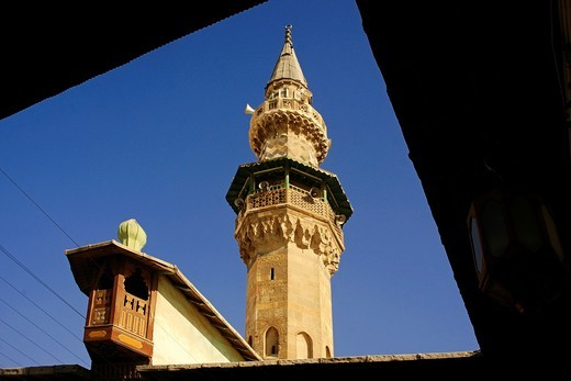 Stock Photo: 1566-603514 Syria-Damascus- Mosque of Mohi ed Din mihnar, at Damascus