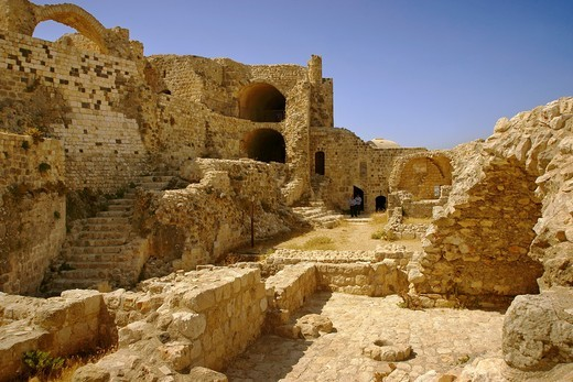 Syria, Masyaf, the Ismaelien castle, also called ´Hashishin´ castle (Assassin ´s castle) : Stock Photo