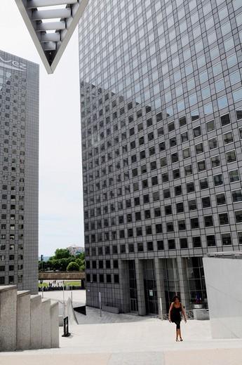 Stock Photo: 1566-603619 The towers GDF Suez, building of the business sector Paris La Défense, Paris, France.