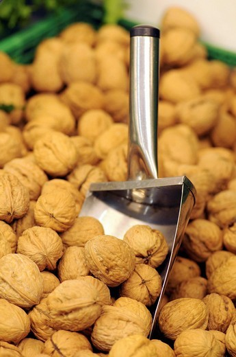 Stock Photo: 1566-603894 Nuts for sale in a supermarket, France