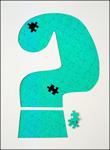 Question mark made with jigsaw puzzle pieces : Stock Photo