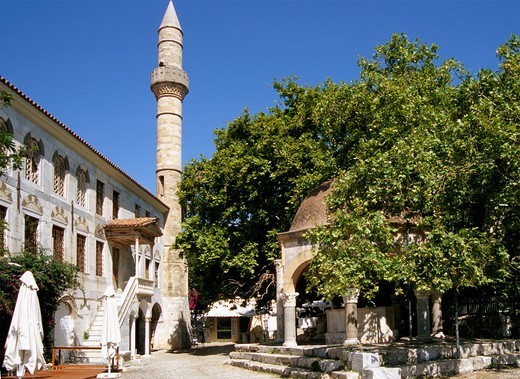 Stock Photo: 1566-604895 Greece, Dodecanese, Kos, Gazi Hassa Pasha Mosque, Hippocrates Plane Tree,
