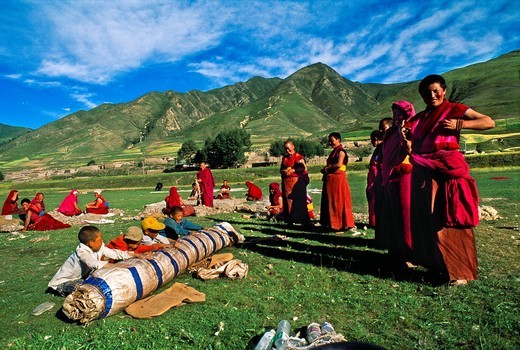 Buddhist Nun  Labrang Monastery  Xiahe  Tibet  China. : Stock Photo