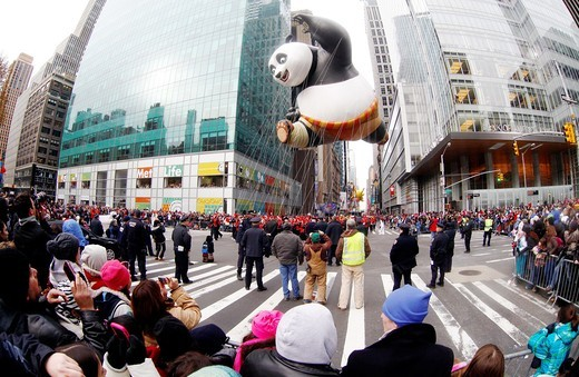 New York City, kung fuu panda balloon at the 85th Macys Thanksgiving Parade : Stock Photo