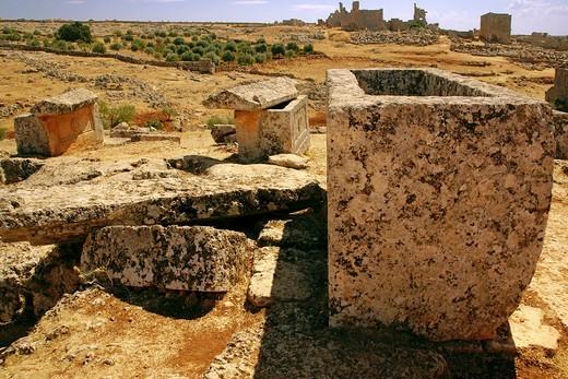 Syria- Sergilla- V-VIc  Sarcophagos from byzantine time : Stock Photo