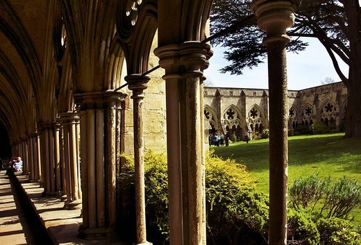 UK. Wiltshire. Cathedral of Salisbury. Cloister. : Stock Photo