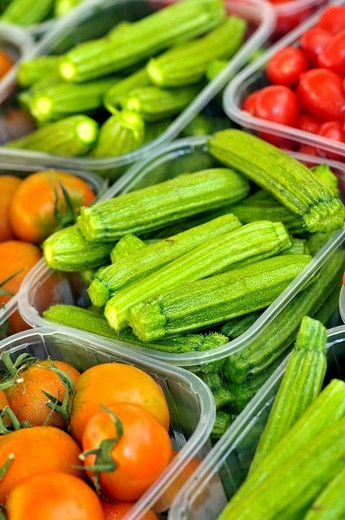 Tomatoes and zucchini. Campo dei Fiori square market, Rome, Italy : Stock Photo
