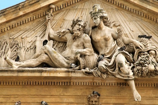 Pediment ancient Grain Market hall  with statues representing Rhone and Durance rivers and pigeons Old Aix Aix en Provence 13 France : Stock Photo