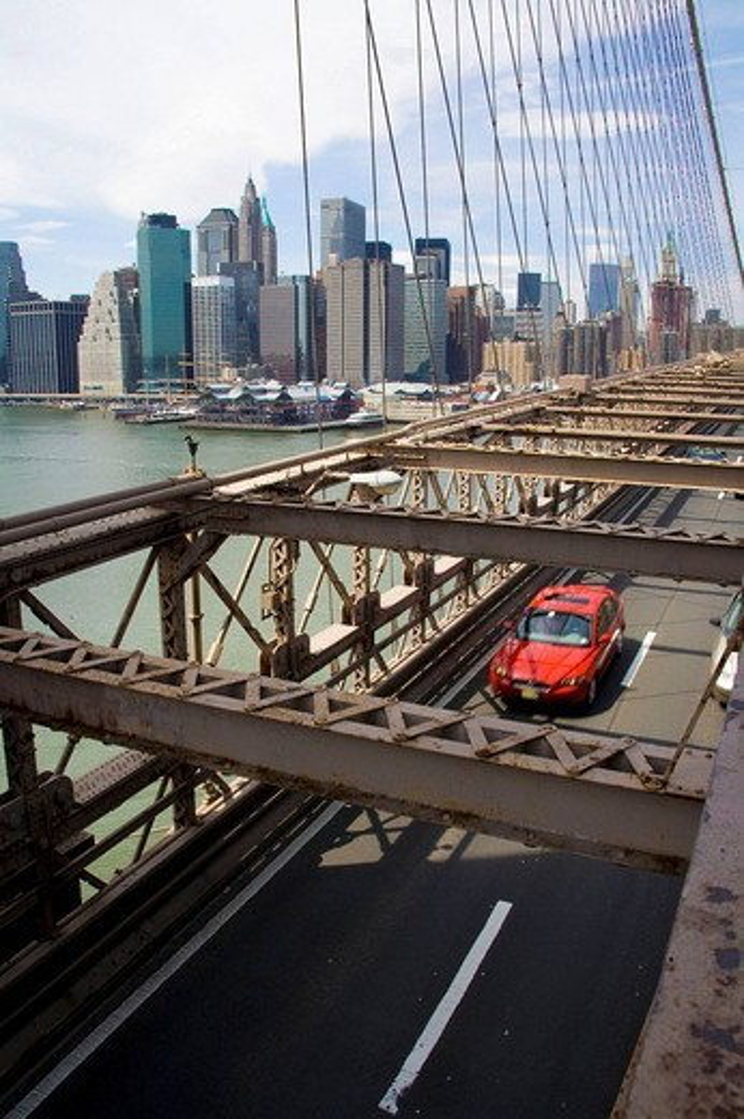 Stock Photo: 1566-609222 USA, New York skyline from Brooklyn Bridge.