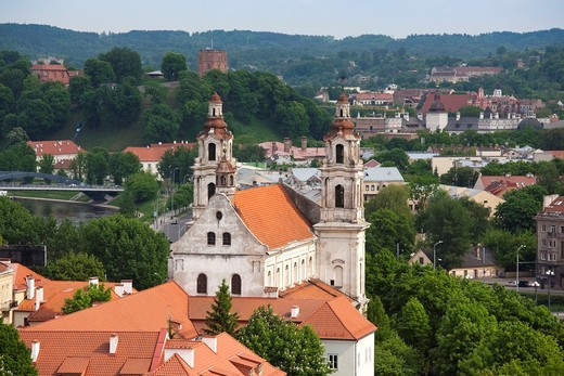 Lithuania, Vilnius, elevated view of St  Raphael´s Church : Stock Photo