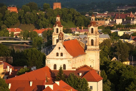 Lithuania, Vilnius, elevated view of St  Raphael´s Church, sunset : Stock Photo