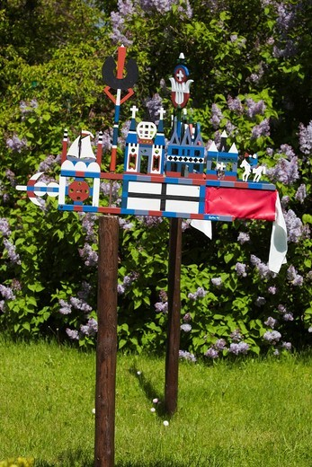 Lithuania, Western Lithuania, Curonian Spit, Nida, traditional Curonian weathervanes : Stock Photo