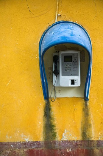 Stock Photo: 1566-610115 China. Chongqing Province. City of Fengdu. Fengdu Ghost City / Mingshan. Chinese Public Telephone