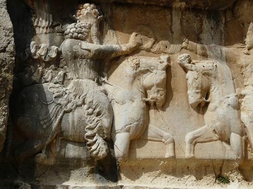 Bas-reliefs, Bishapur, Iran : Stock Photo