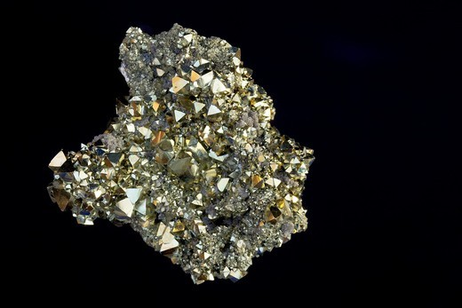 Pyrite FeS2 Iron sulfide - Octahedral crystals - Canutillos mine - Bolivia - Popularly known as ´fool´s gold´ - Formery used in the production of sulfuric acid - : Stock Photo