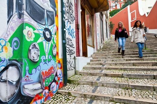 Calçada do Duque Barrio, Chiado district, Lisbon, Portugal, Europe : Stock Photo