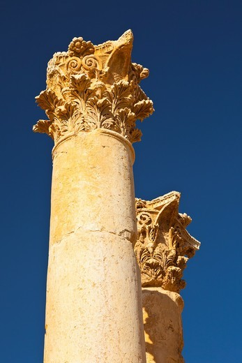 Zeus Temple, Greco-Roman city of Jerash, Jordan, Middle East : Stock Photo