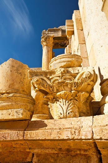 Greco-Roman city of Jerash, South Theatre, Jordan, Middle East : Stock Photo