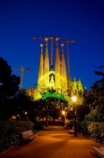 Spain, Catalunia Catalunya, Barcelona, Temple Expiatori de la Sagrada Familia : Stock Photo
