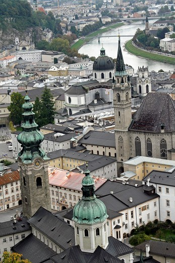 Austria Salzburg Old view of city from castle including cathedral and Salzach River : Stock Photo