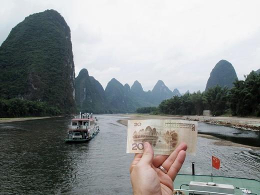 Li or Lijiang river near Guilin, Guangxi Province, China : Stock Photo