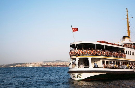Stock Photo: 1566-617863 Partial view of the Maltepe ferry boat on the Bosphorus strait, Istanbul, Tukey