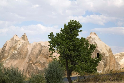 View of a rock-cut dwelling in the Castle valley, Cappadocia region, Turkey : Stock Photo