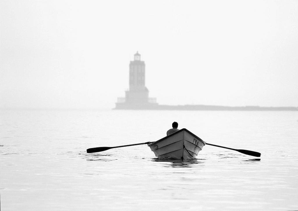 Early morning row boat exercise, San Pedro, California, USA : Stock Photo