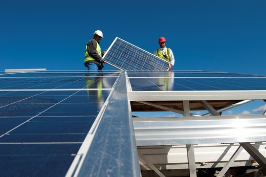 Stock Photo: 1566-618557 Construction of solar panels for production of renewable electrical energy in the site of ´Puits Castan´ old mine, Villaniere Aude Languedoc-Roussillon France