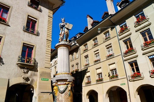 Stock Photo: 1566-618924 Moses Fountain Mosesbrunnen on Kramgasse, Bern, Canton Bern, Switzerland