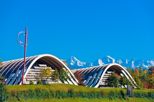 Stock Photo: 1566-619009 Exterior of the Zentrum Paul Klee art gallery by Italian architect Renzo Piano, with peaks of the Swiss Alps in the background, Bern, Canton Bern, Switzerland