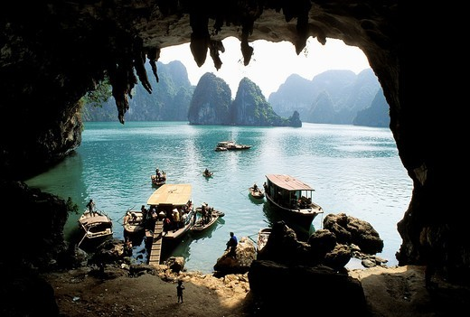 Vietnam, Halong Bay listed World Heritage by UNESCO, view from a natural cave, : Stock Photo